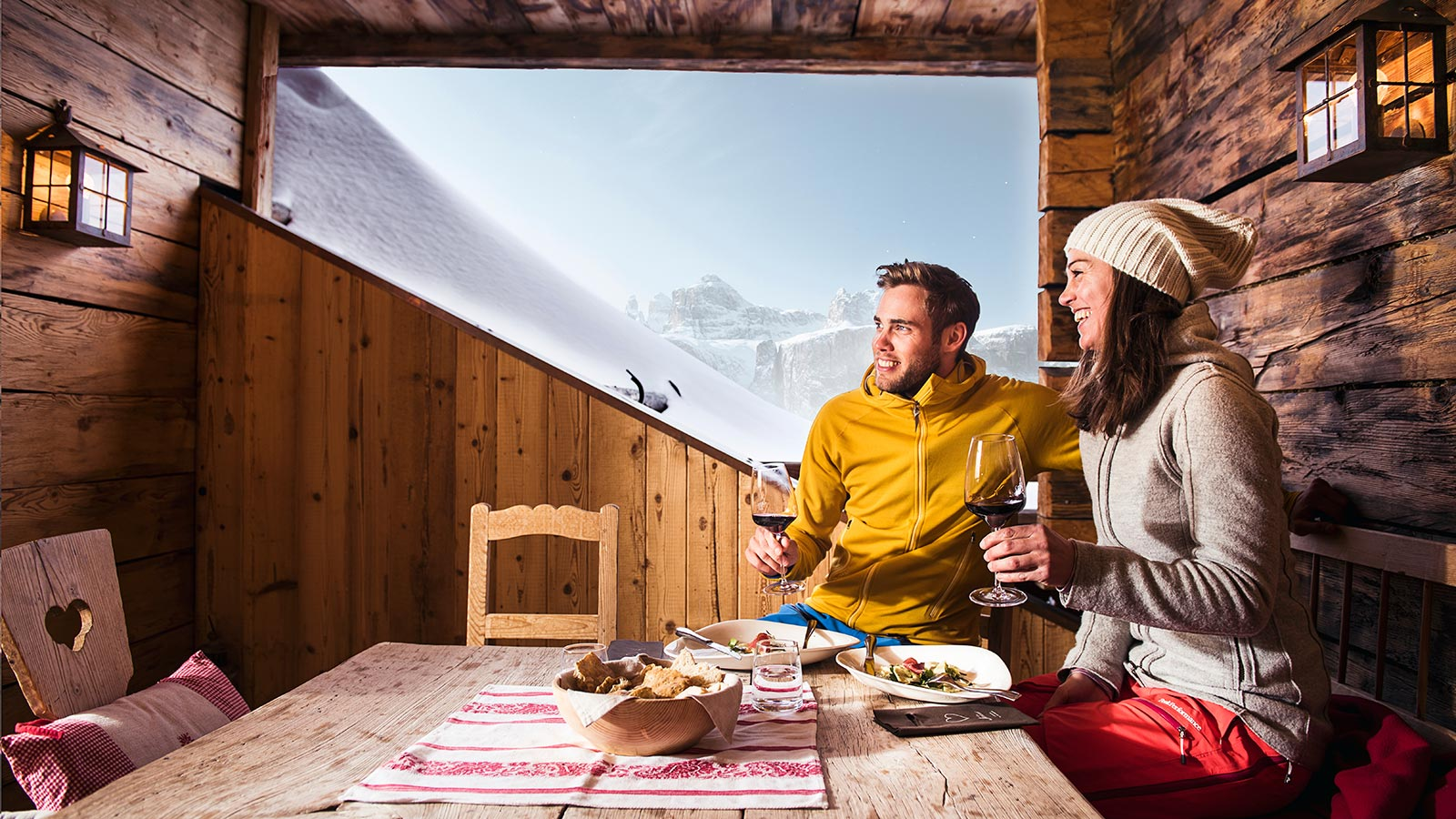 A couple in a  warm place for you and your loved ones to rest after a long day of skiing
