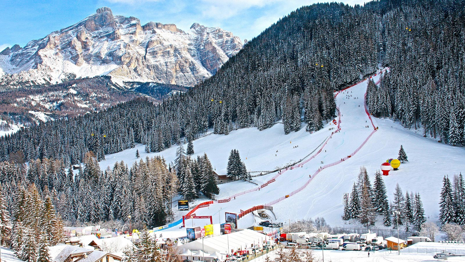 A beautiful ski slope in the Dolomites at Passo Campolongo
